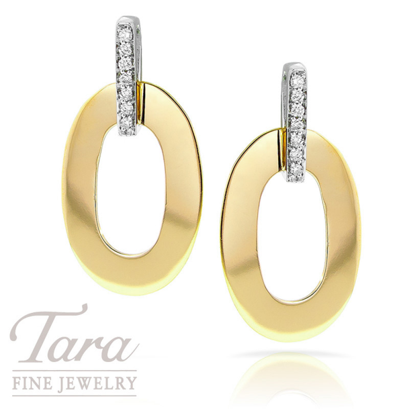 """Roberto Coin 18K Two Tone Earrings, """"Chic and Shine"""" Collection"""