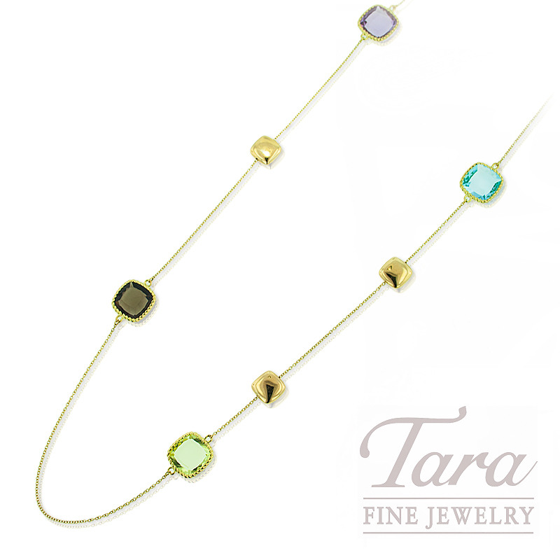 Roberto Coin Necklace, 18K Yellow Gold Natural Color  Gemstones 21.4G