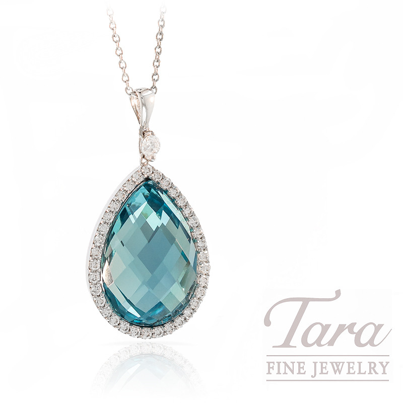 Roberto Coin Blue Topaz and Diamond Pendant with Chain in 18k White Gold, .36tdw