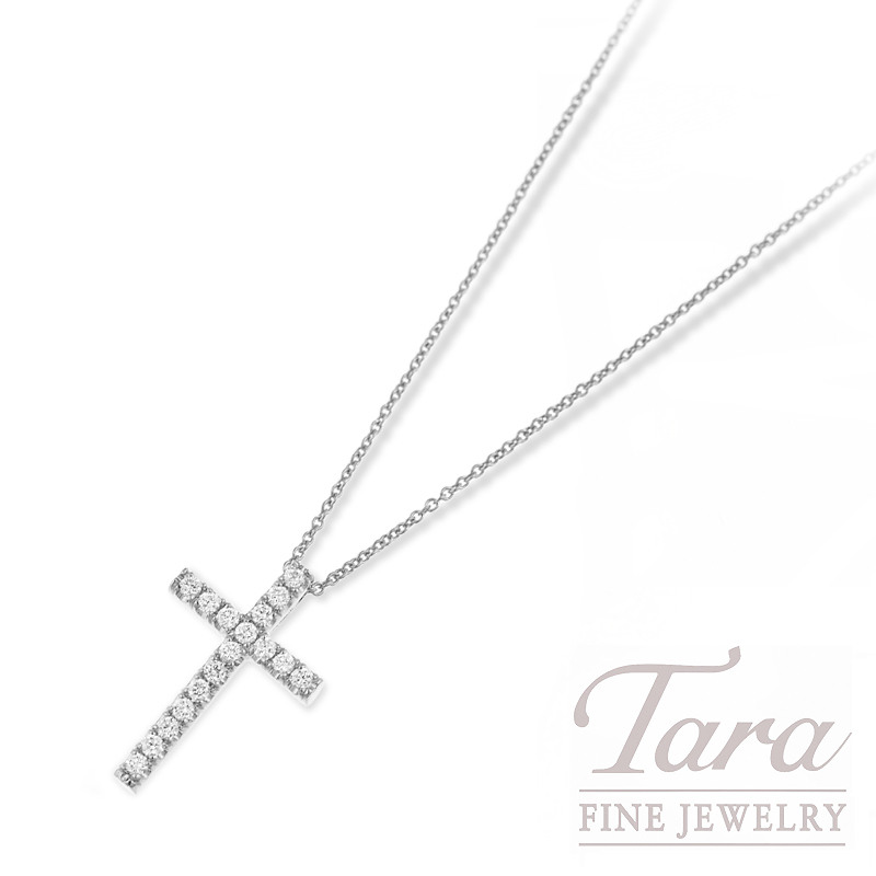 Roberto Coin Diamond Cross and Chain in 18K White Gold .23TDW 16/18