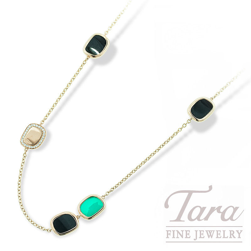 Roberto Coin Diamond and Natural Gemstone Necklace .12TDW, Rose Gold, 18K