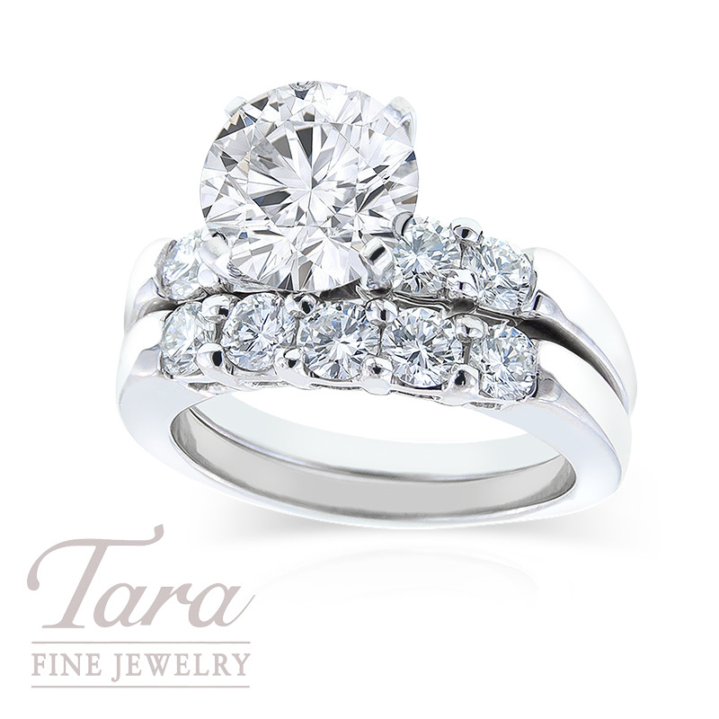 Diamond Wedding Set in Platinum, 1.27 TDW (Center stone sold separately)