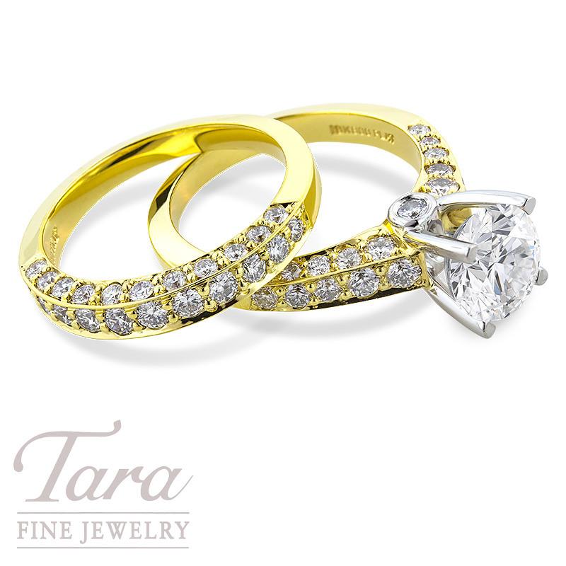 Scott Kay 19K Yellow Gold and Platinum Diamond Wedding Set