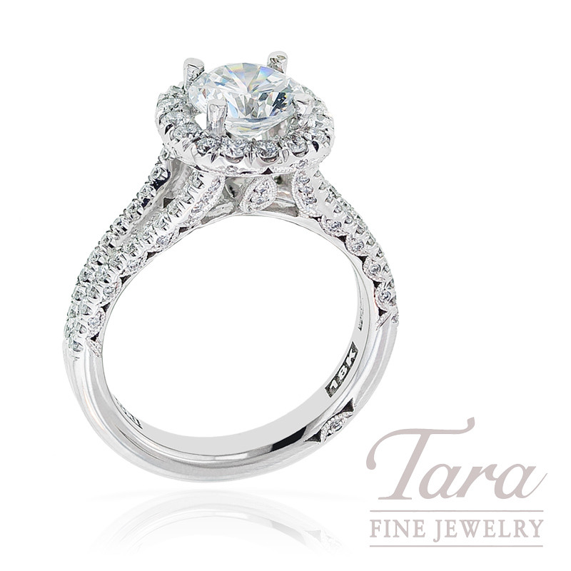 Tacori Diamond Engagement Ring in 18k White Gold, .73 ctw (Center stone sold separately)