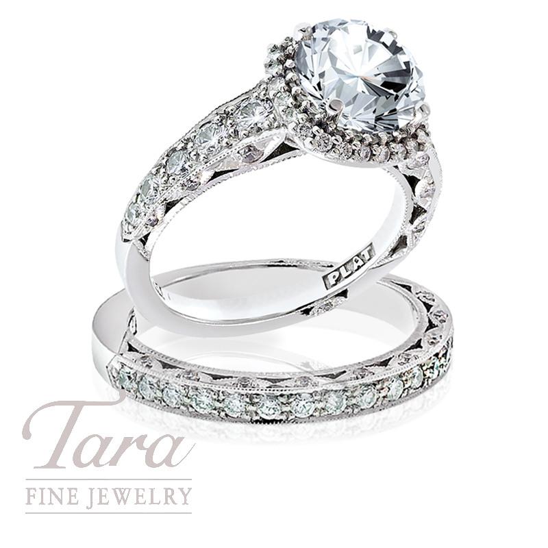 Tacori Diamond Engagement Ring, .91 TDW & Tacori Band, .33 TDW (Center stone sold separately)