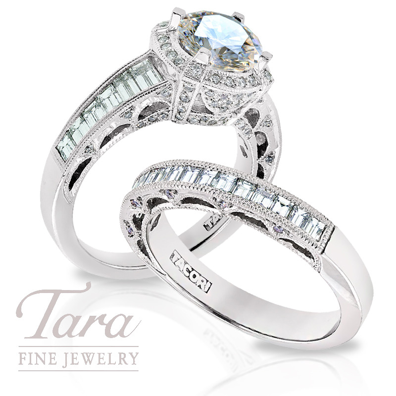 Tacori Diamond Engagement Ring, 1.35ct tdw & Wedding Band, .65ct tdw in Platinum (Center stone sold separately)