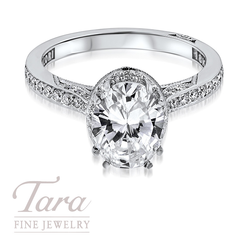 Tacori Diamond Engagement Ring in 18K White Gold .30TDW With 1.30TDW Center