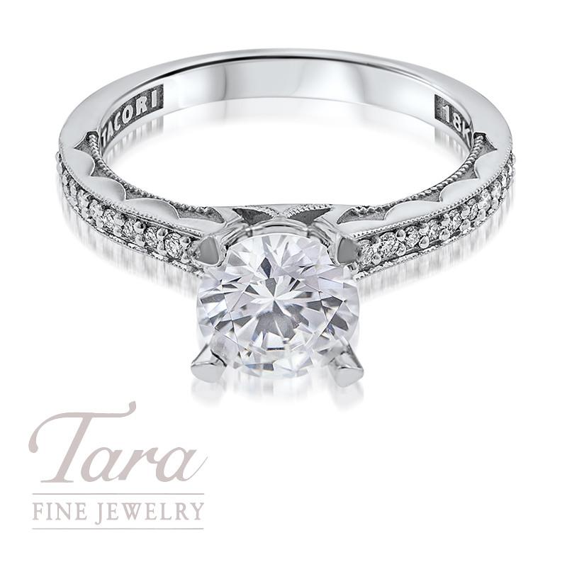 Tacori Diamond Engagement Ring in 18K White Gold .10TDW (Center Stone Sold Separately)