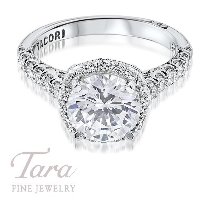 Tacori Diamond Engagement Ring in 18K White Gold .77TDW (Center Stone Sold Separately)