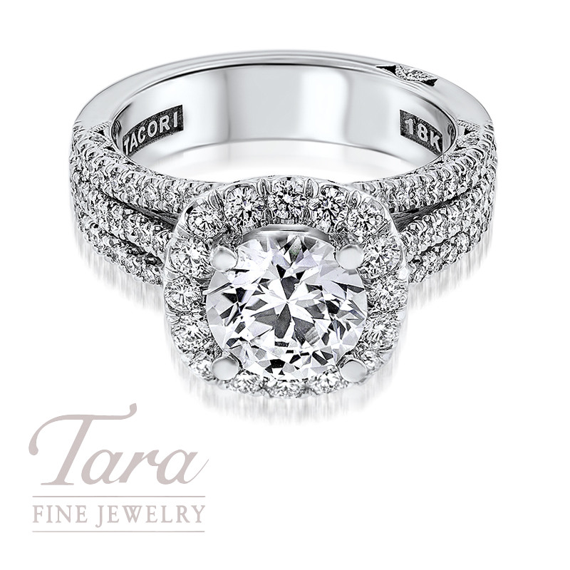 Tacori Diamond Engagement Ring in 18K White Gold 1.03TDW (Center Stone Sold Separately)
