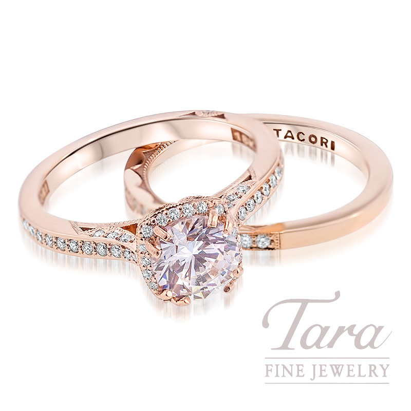 Tacori Diamond Wedding Set in 18K Rose Gold .25TDW Ring, .17TDW Band (Center Stone Sold Separately)