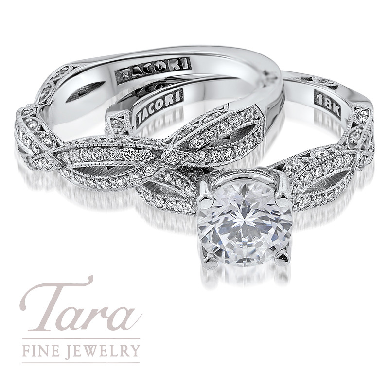 Tacori Diamond Wedding Set in 18K White Gold .36TDW Ring, .35TDW Band (Center Stone Sold Separately)