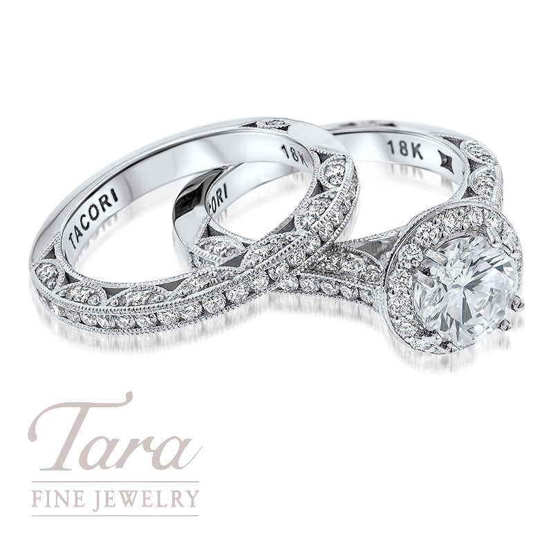 Tacori Diamond Wedding Set in 18K White Gold .80TDW Ring, .47TDW Band (Center Stone Sold Separately)