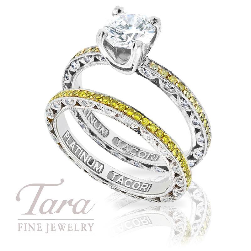 Tacori Diamond Engagement Ring & Wedding Band in Platinum & 18K Yellow Gold, 1.05 TDW (Center stone sold separately)