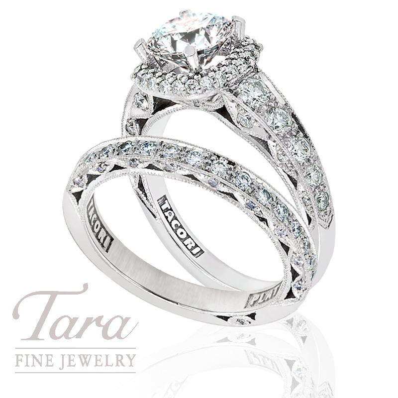 Tacori Diamond Ring and Band in Platinum, 1.17ct tdw (Center stone sold separately)