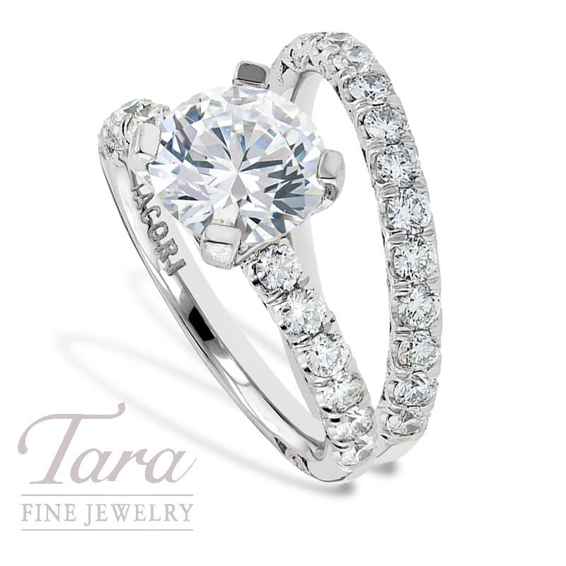 Tacori Diamond Engagement Ring, .57 TW & Wedding Band, .65 TW (Center stone sold separately)