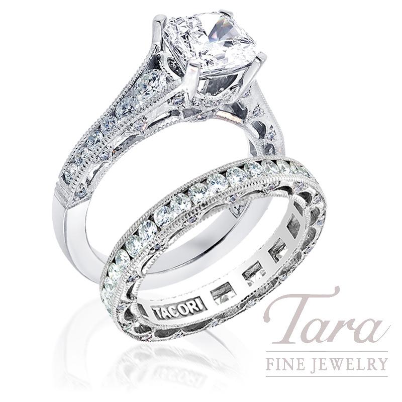 Tacori Diamond Engagement Ring, .62ct tdw & Eternity Band, .97tdw (Center stone sold separately)