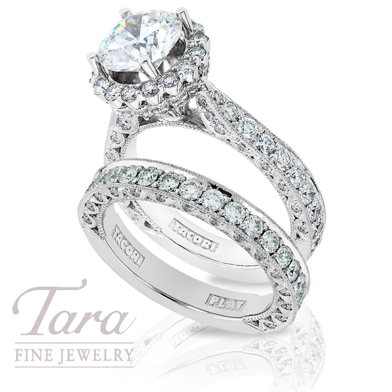 Tacori Diamond Engagement Ring & Band in Platinum, 1.99 ctw (Center stone sold separately)