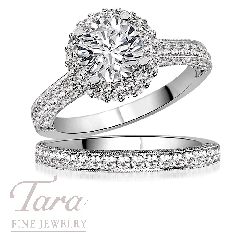 Tacori Wedding Ring and Band in 18K White Gold 98 CT TW Center