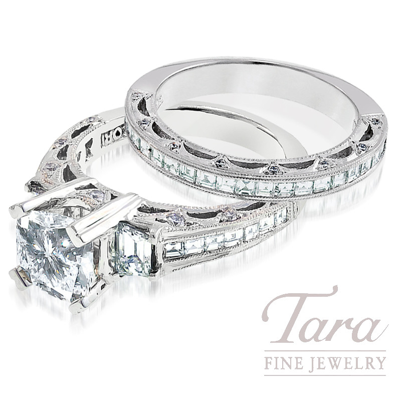 Tacori Diamond Engagement Ring and Band in Platinum, 1.73 TDW (Center stone sold separately)
