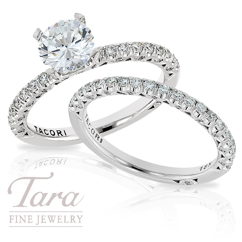 Tacori Diamond Engagement Ring & Band in 18K White Gold, .71ct tdw (Center stone sold separately)