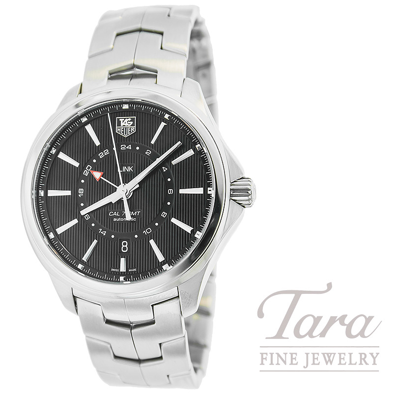 Tag Heuer Watch 42mm Link GMT Watch with a Black Dial