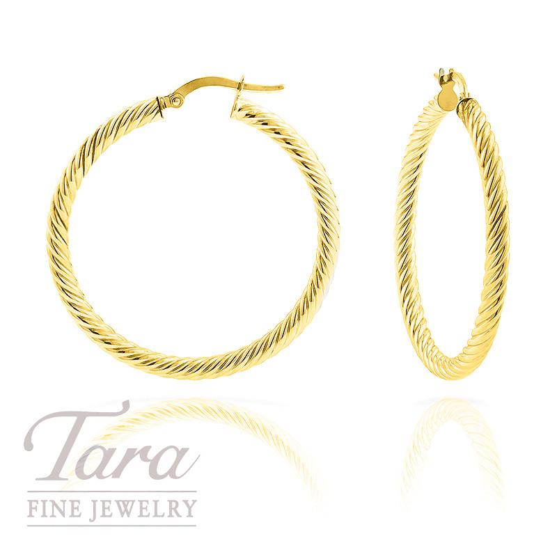 Hoop Earrings in 14K Yellow Gold Twisted Rope