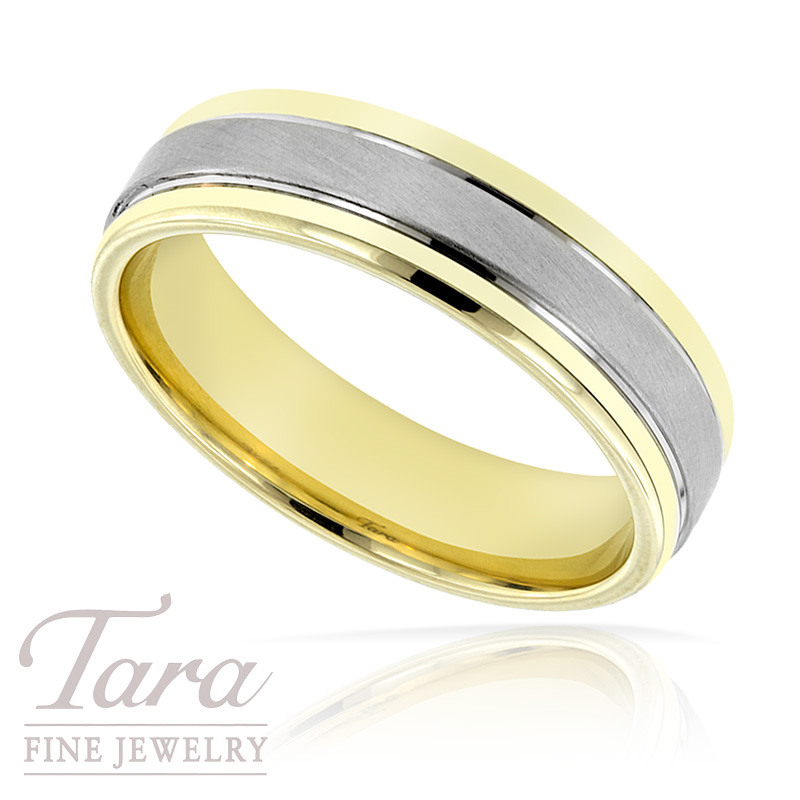 Mens Wedding Band in Two Tone Gold, 9.4 Grams, Size 10