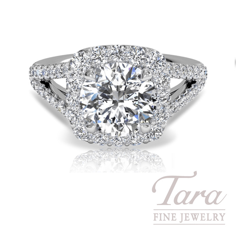 Ritani Cushion Halo Diamond 'V' Band Engagement Ring (Center Diamond Sold Separately)
