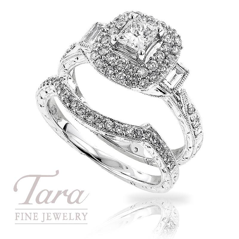 Diamond Engagement Ring in 14K White Gold, .85 TDW & Band, .15 TDW
