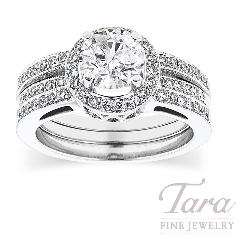 Diamond Engagement Ring in 18K White Gold,  .43 TDW and  Band .17 TDW (Center stone sold separately)