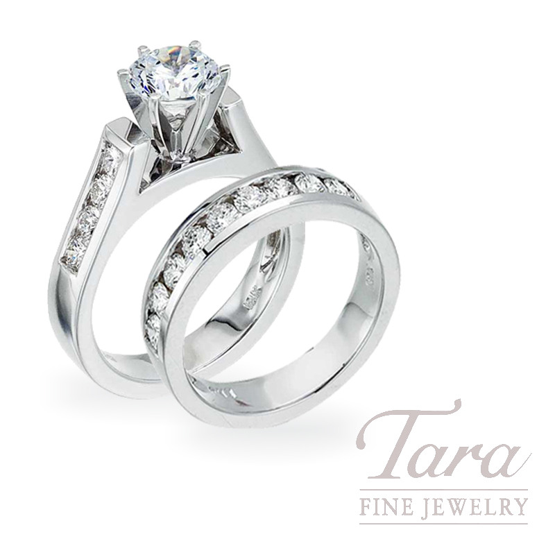 Diamond Engagement Ring, .51 TDW and Band, .60 TDW in 18K White Gold (Center stone sold separately)