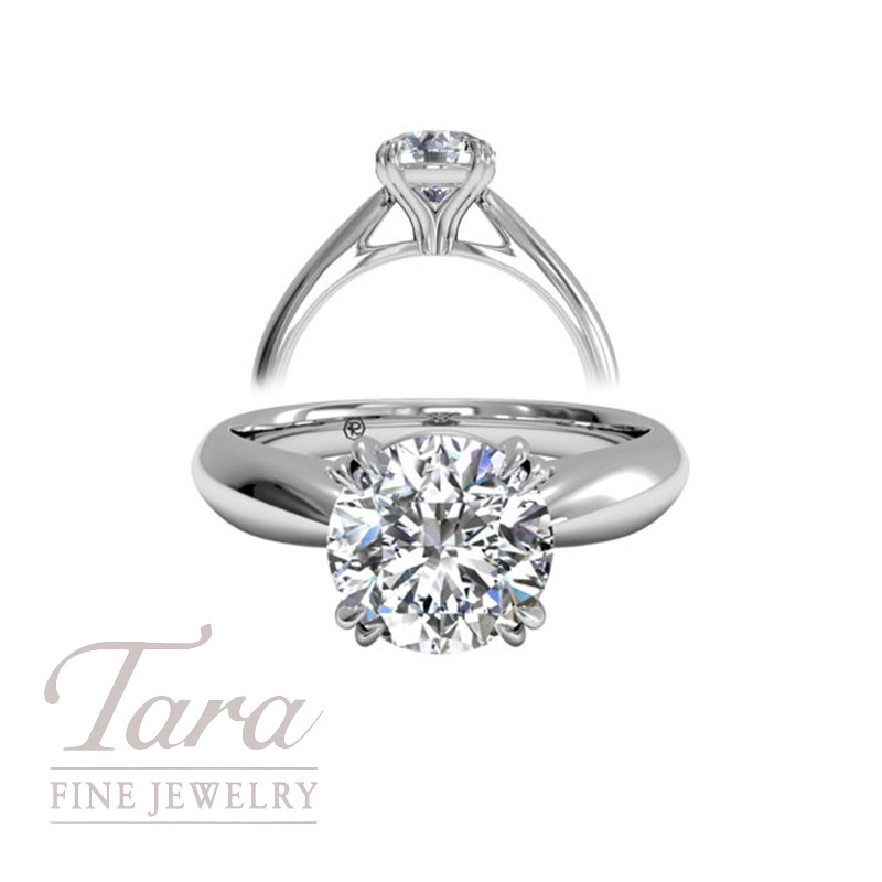 Solitaire Diamond Tulip Cathedral Engagement Ring in 18K White Gold (center stone sold separately)