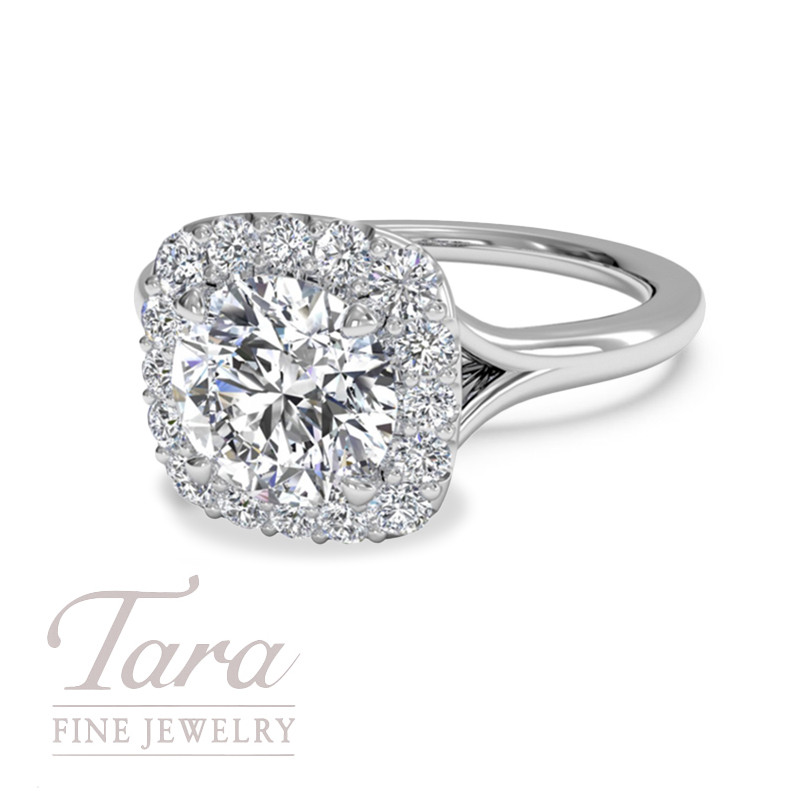 Ritani Classic French Set Halo Diamond Engagement Ring 18K White Gold, .22TDW (Center Stone Sold Separately)