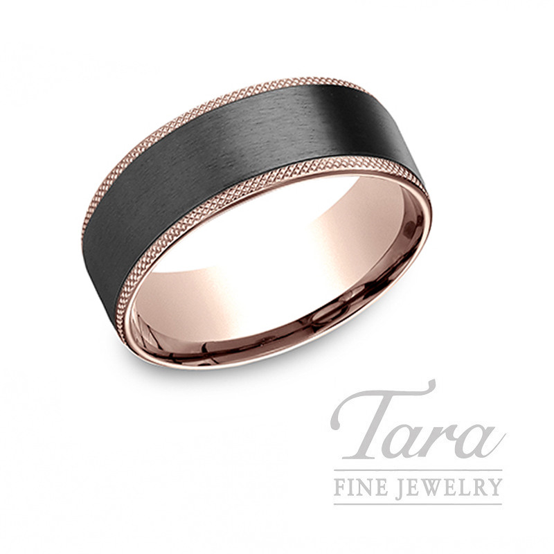 Gentlemen's 14k Rose Gold and Black Titanium Wedding Band, 9.6G