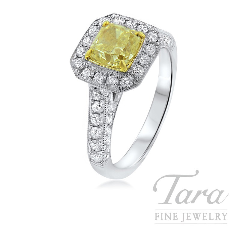 Forevermark 18K Two-Tone Diamond Ring, 1.0CT Fancy Yellow Diamond, 1.04TDW