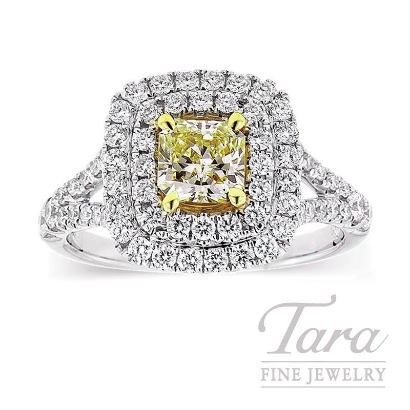Forevermark 18k Two-Tone Fancy Yellow Diamond Halo Engagement Ring, .72CT Fancy Yellow Diamond, .74TDW