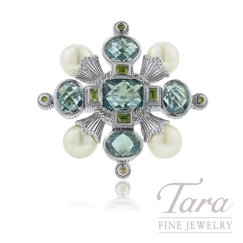 Sterling Silver Blue Topaz, Peridot, and Pearl Brooch/Pendant, 21.9G