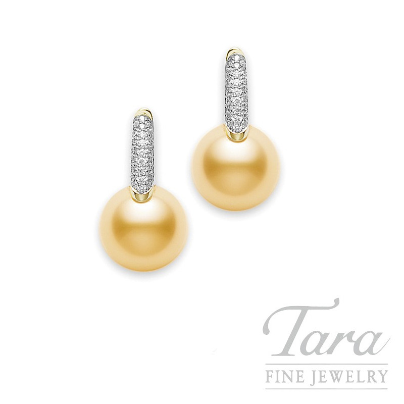 Mikimoto Pearl & Diamond Earrings with 10mm Golden South Sea Pearls in 18k yellow gold, .28 TDW