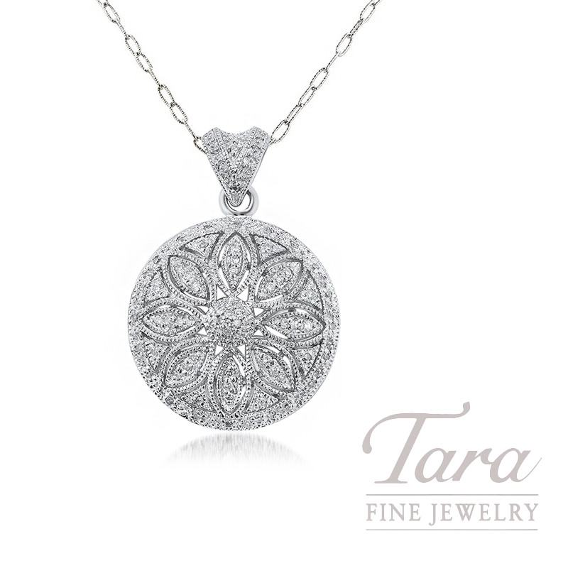 Sterling Silver Diamond Floral Pendant, 8.0G