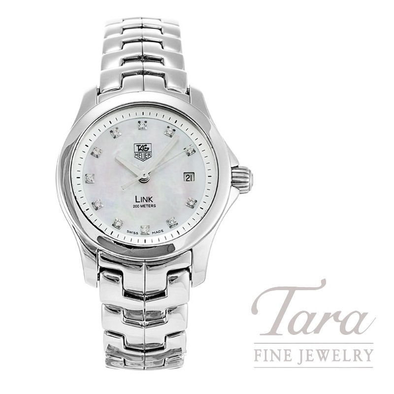 Tag Heuer Link Watch, Mother of Pearl and Diamond Dial