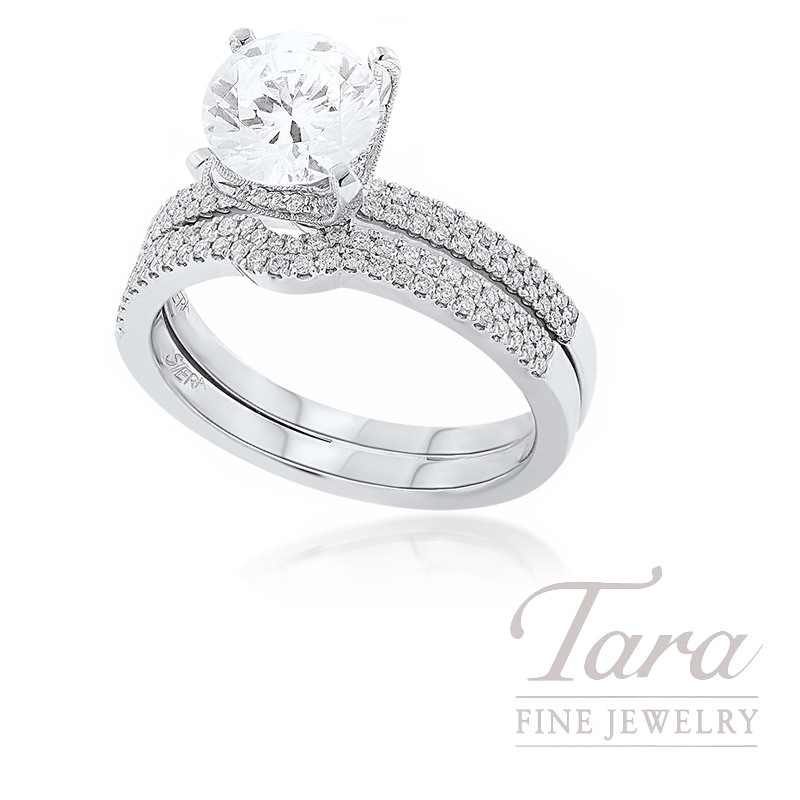 18k White Gold Diamond Engagement Ring and Contour Band, .35TDW (Center Stone Sold Separately)
