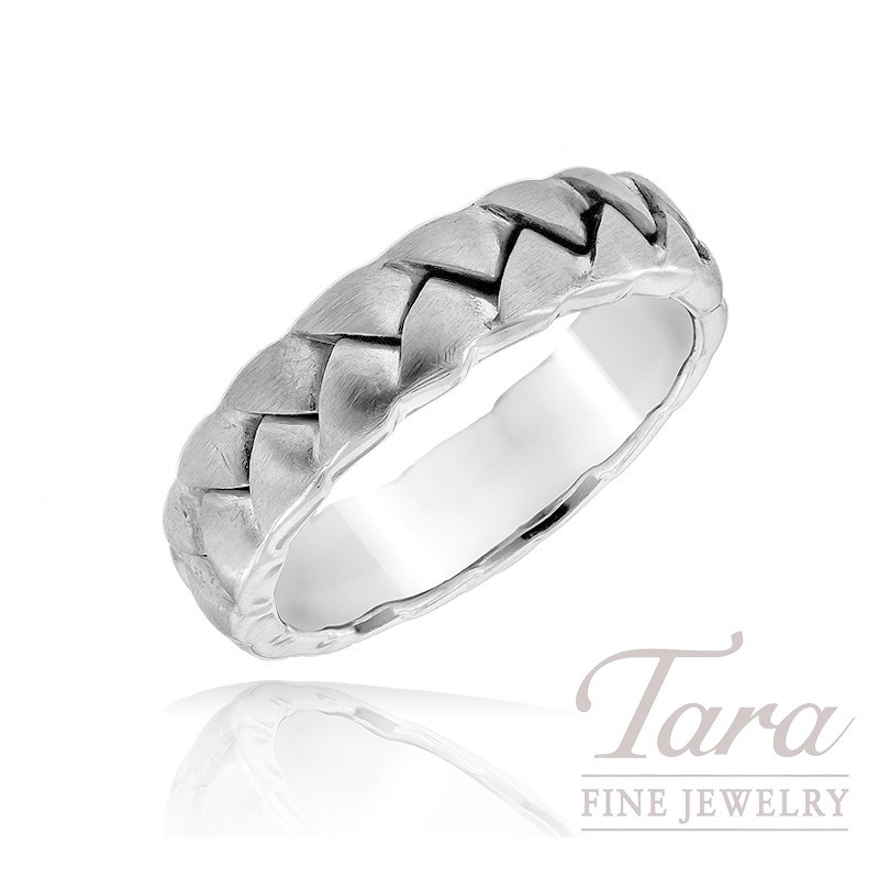 Men's 19K White Gold Woven Band
