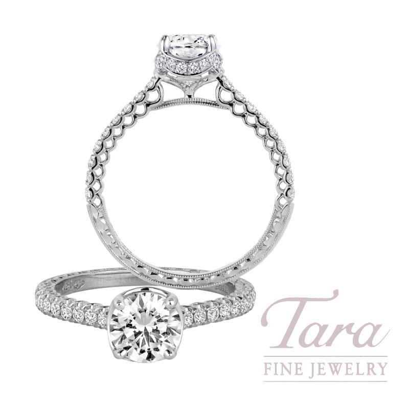 Jack Kelege 18K White Gold Diamond Engagement Ring, 2.6G, .35TDW (Center Stone Sold Separately)