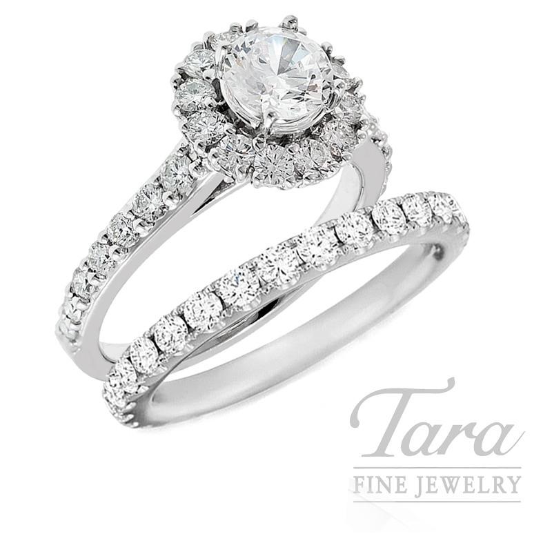18K White Gold Diamond Halo Wedding Set, 1.07TDW (Center Stone Sold Separately)