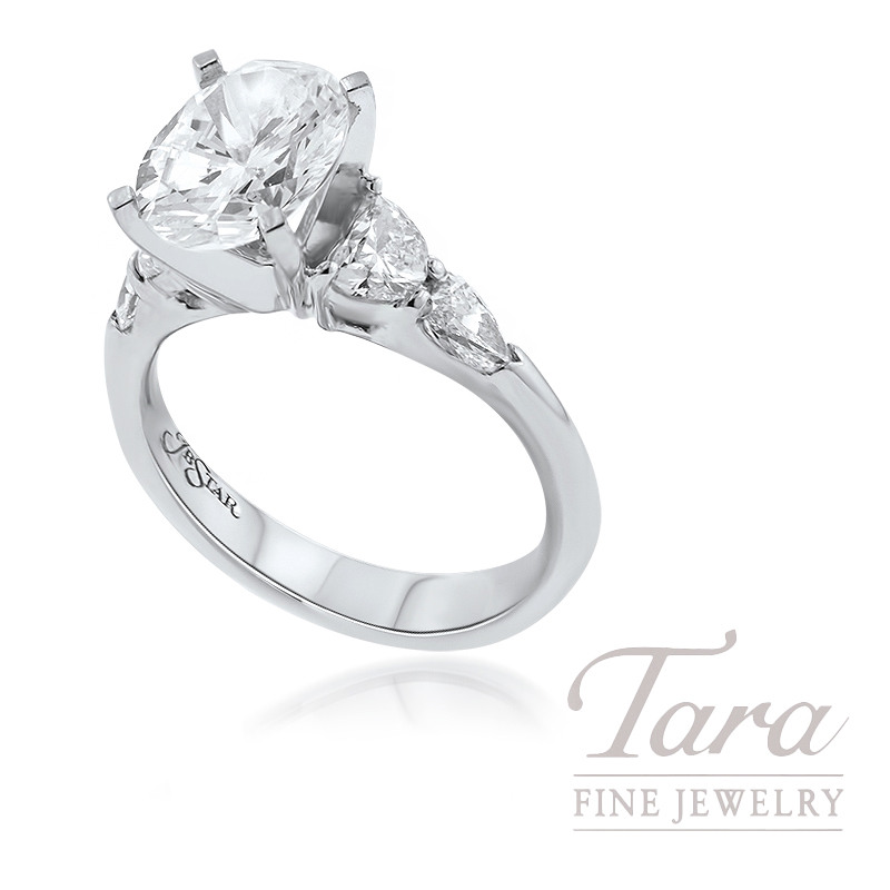 J. B. Star Platinum Diamond Engagement Ring, 7.8G, .61TW Half-Moon Diamonds, .39TDW Shield Cut Diamonds (Center Stone Sold Separately)