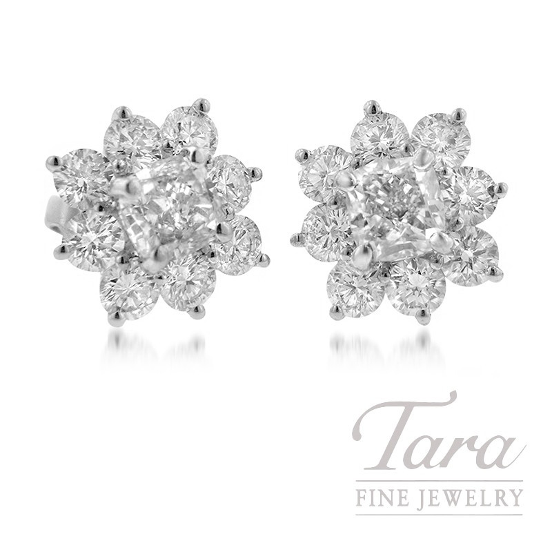 Forevermark 18K White Gold Flower-Shaped Earrings, 3.04TDW Center, 2.24TDW Halo