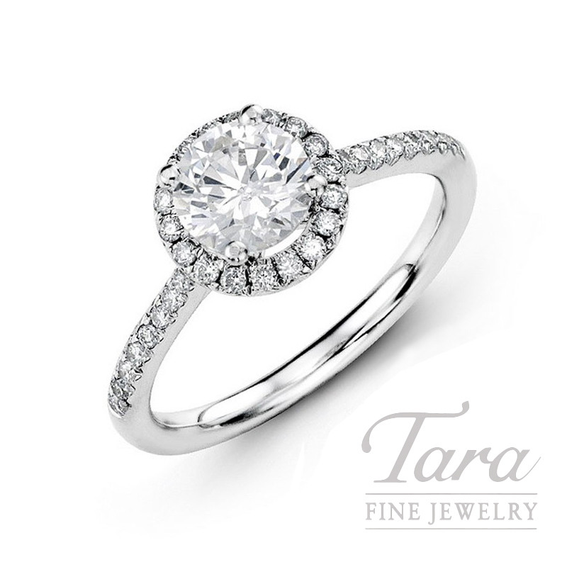 14K White Gold Diamond Halo Engagement Ring, .28CT Center Diamond, .20TDW