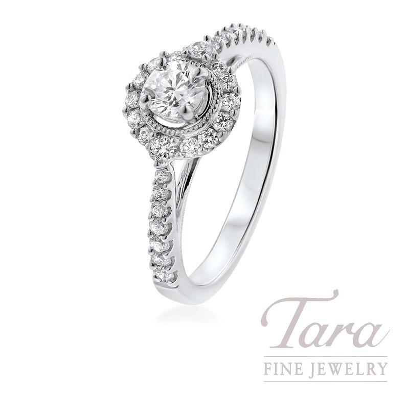 14K White Gold Diamond Halo Engagement Ring, .27CT Center Diamond, .35TDW