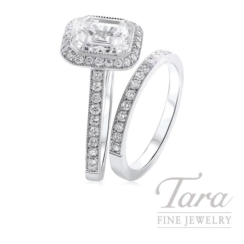18K White Gold Asscher Diamond Halo Wedding Set, .80TDW (Center Stone Sold Separately)